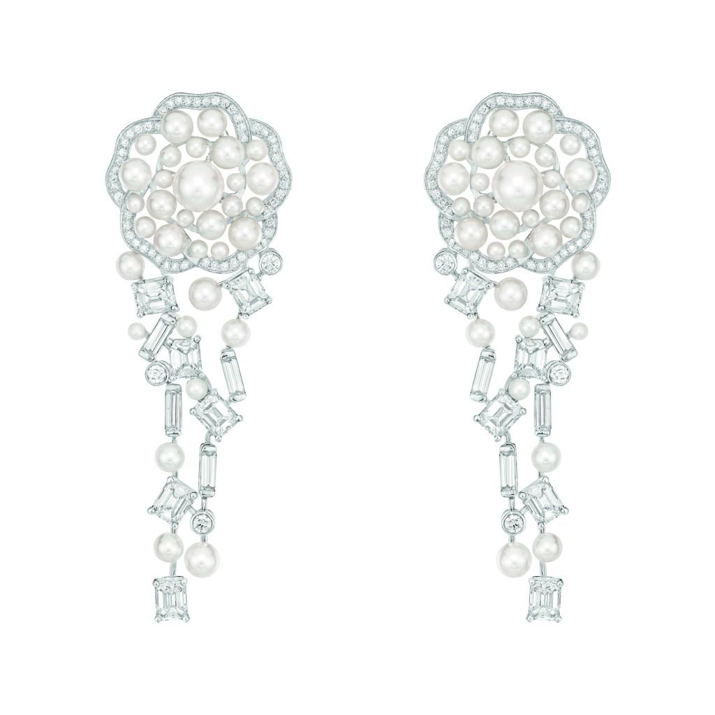 Boucles d 39 oreilles pluie de cam lia en or blanc 18 for Haute joaillerie chanel