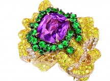 BAGUE PLI PLAT SAPHIR ROSE JCAD93042 750/1000e or jaune, diamants, diamants jaunes, saphir rose et émeraudes