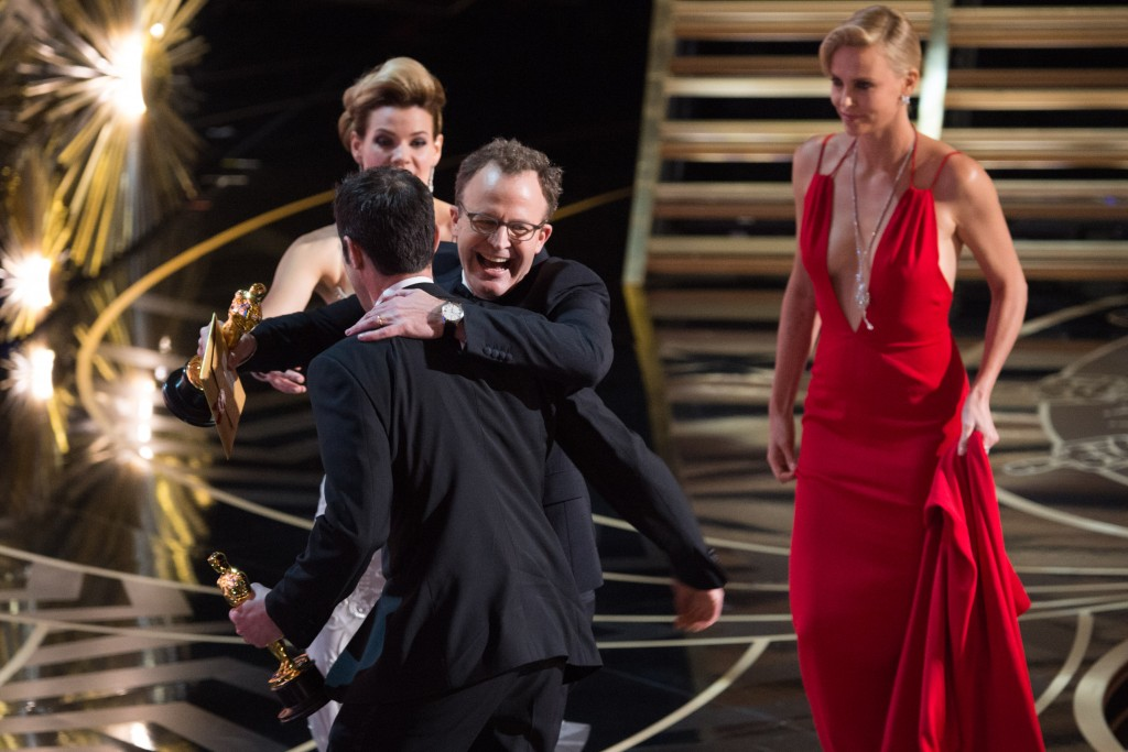 """EDITORIAL USE ONLY. NO BOOK PUBLISHING WITHOUT PRIOR APPROVAL Mandatory Credit: Photo by Mandatory Credit - A.M.P.A.S/REX/Shutterstock (5600270cj) A.M.P.A.S. Josh Singer and Tom McCarthy accept the Oscar for Original screenplay, for work on """"Spotlight"""" 88th Annual Academy Awards, Show, Los Angeles, America - 28 Feb 2016"""
