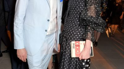 Tilda Swinton carries Olympia Le-Tan's clutch bag for the Vanity Fair X Chopard Party