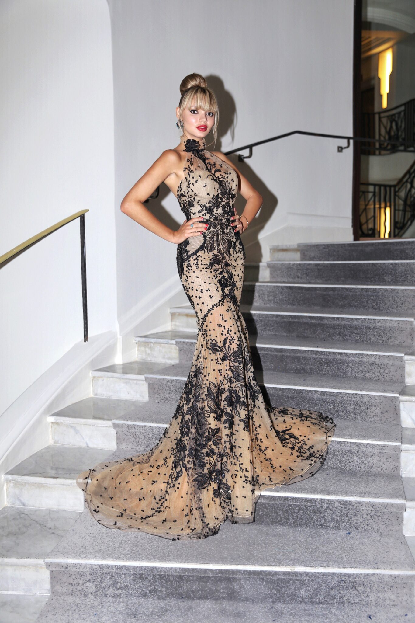 Pauline Baly wears Galia Lahav for the red carpet in Cannes